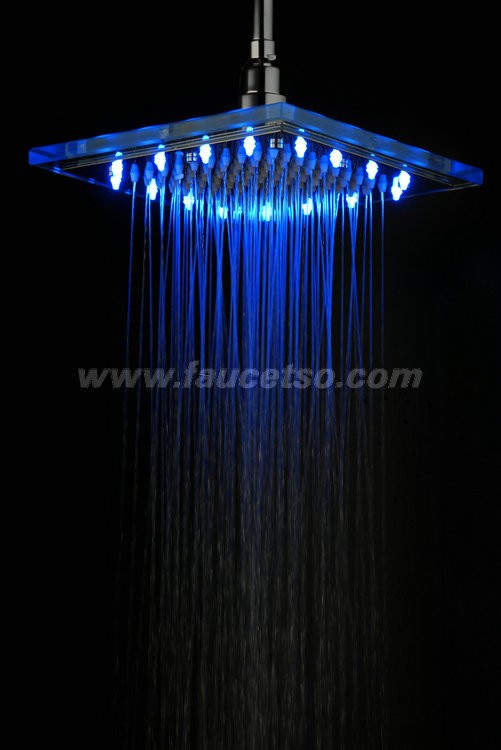 9 inch chromed square led rainfall glass shower head f 320 faucets online shop - Glass shower head ...