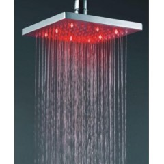 Square Chrome Brass Shower Head With Faint LED Light (QH325)