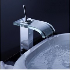Single Handle Chrome Waterfall Bathroom Sink Faucet (F-0821)