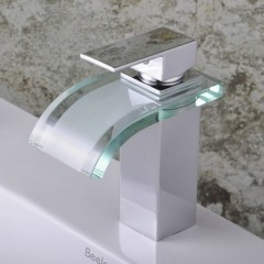 Single Handle Chrome Waterfall Bathroom Sink Faucet (F-0822)