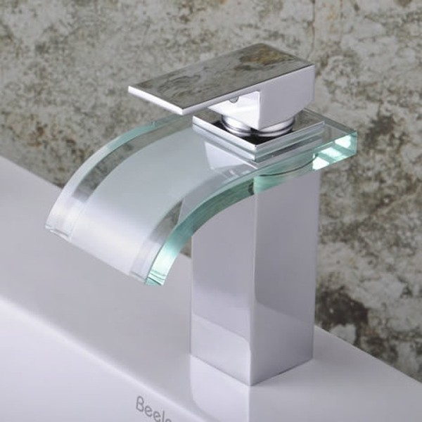 Single handle chrome waterfall bathroom sink faucet f for Plumbing bathroom sink