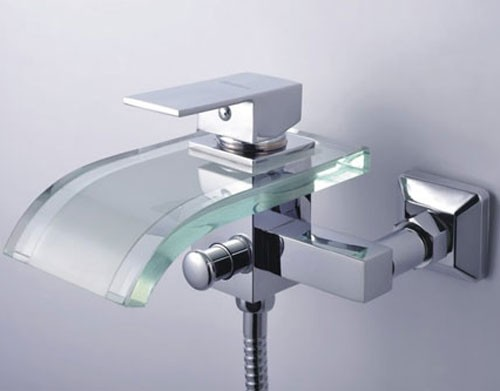 Bathtub Single Handle Faucet : Single Handle Waterfall Wall-Mount Chrome Glass Bathtub Faucet (F ...
