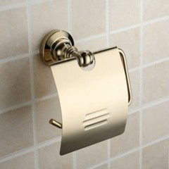 Golden Brass Wall-mounted Toilet Roll Holder GB1002