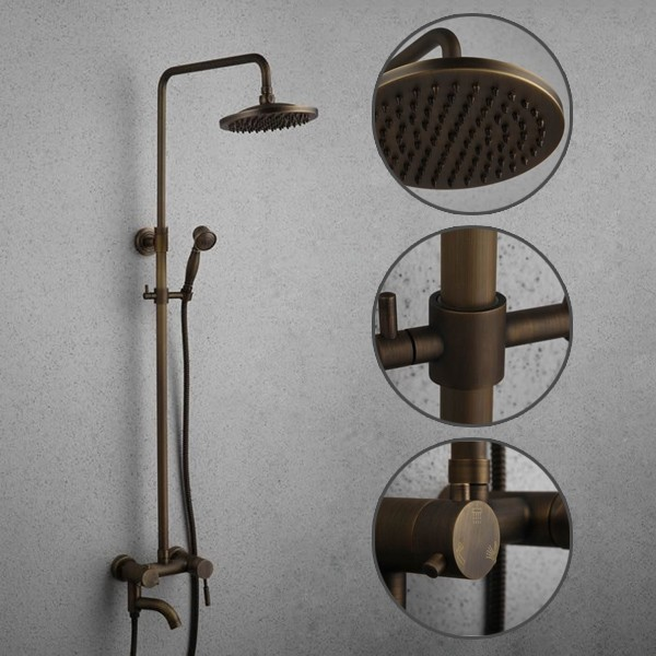 Antique brass tub shower faucet with 8 inch shower head hand shower faucets online shop Antique brass faucet bathroom