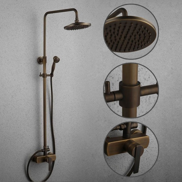 ... Antique Brass Tub Shower Faucet With 8 Inch Shower Head + Hand Shower