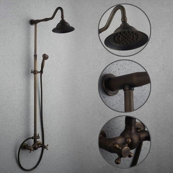 Antique Brass Shower Faucet With 8 Inch Shower Head + Hand Shower ...