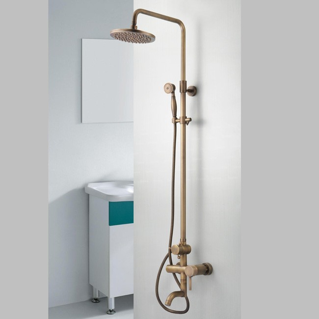 Tub Fixtures : Antique Brass Tub Shower Faucet with 8 inch Shower Head + Hand Shower ...