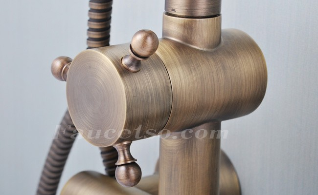 Antique Brass Tub Shower Faucet With  Inch Shower Head Hand - Tub and shower faucet with handheld showerhead