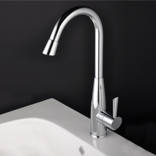 Contemporary Solid Brass Kitchen Faucet Nickel Brushed