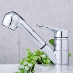 Solid Brass Pull Out Kitchen Faucet (Chrome Finish) F0544
