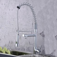 Solid Brass Spring Kitchen Faucet with Two Spouts (Chrome Finish) F0783-3