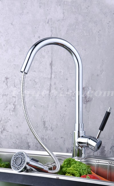 Contemporary Solid Brass Pull Down Kitchen Faucet (Chrome Finish ...