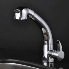 Chrome Single Handle Centerset Pull out kitchen Faucet F1724