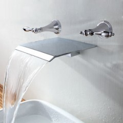 Contemporary Waterfall Bathroom Sink Faucet (Wall Mount) F7008B