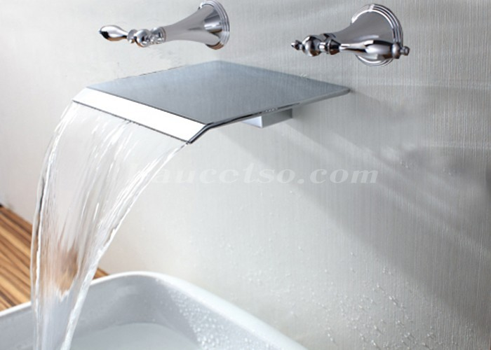 Contemporary Waterfall Bathroom Sink Faucet (Wall Mount) F7008B ...