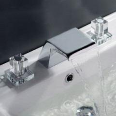 Contemporary Waterfall Bathroom Sink Faucet (Chrome Finish, Widespread) F7002