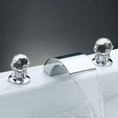 Contemporary Brass Waterfall Bathroom Sink Faucet (Widespread) F7001