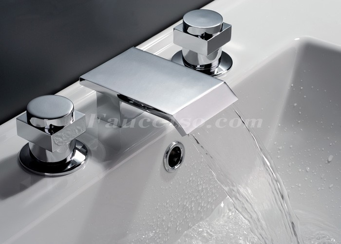 Contemporary Waterfall Bathroom Sink Faucet Chrome Finish Widespread F7003