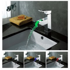 Color Changing LED Waterfall Bathroom Sink Faucet - Blade Series F8005-5