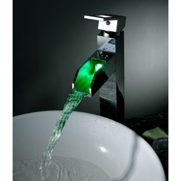 Color Changing LED Waterall Bathroom Sink Faucet (Tall) F8005-5H