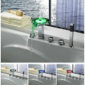 Color Changing LED Tub Faucet with Hand Shower (Chrome Finish)F8008-4F