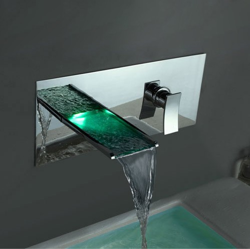 Color changing led waterfall bathroom sink faucet wall for Robinet salle de bain cascade led