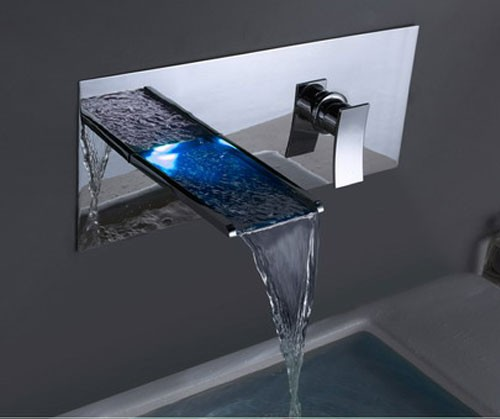 Color Changing Led Waterfall Bathroom Sink Faucet Wall Mount F8013 Faucets Online Shop