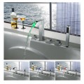 Color Changing LED Tub Faucet with Hand Shower - Blade Series F8005-4