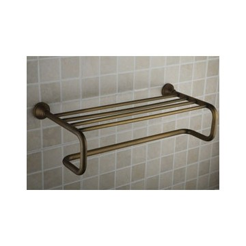 Antique Brass 21 Inch Bathroom Shelf With Towel Bar AB1004 - Faucets ...