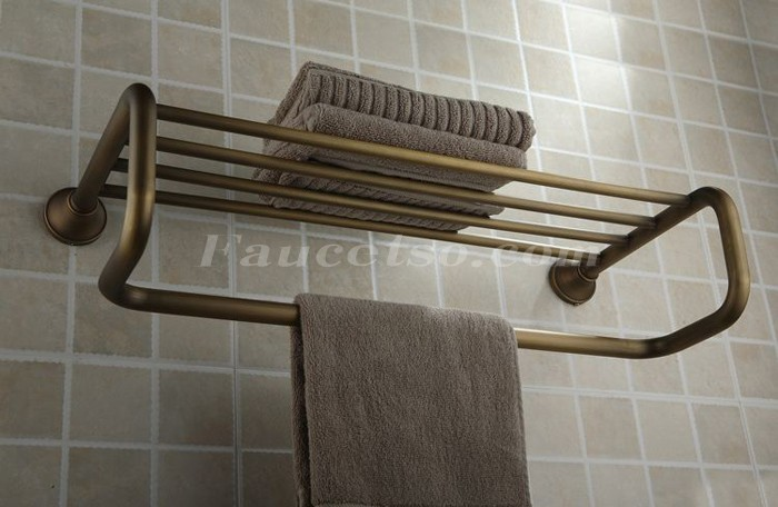 Antique Brass 21 Inch Bathroom Shelf With Towel Bar Ab1004 Faucets Online Shop