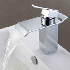 Contemporary Waterfall Bathroom Sink Faucet - Chrome Finish F6001