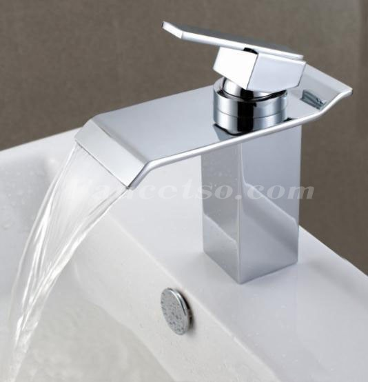 Contemporary Waterfall Bathroom Sink Faucet Chrome Finish F6001 Faucets Online Shop