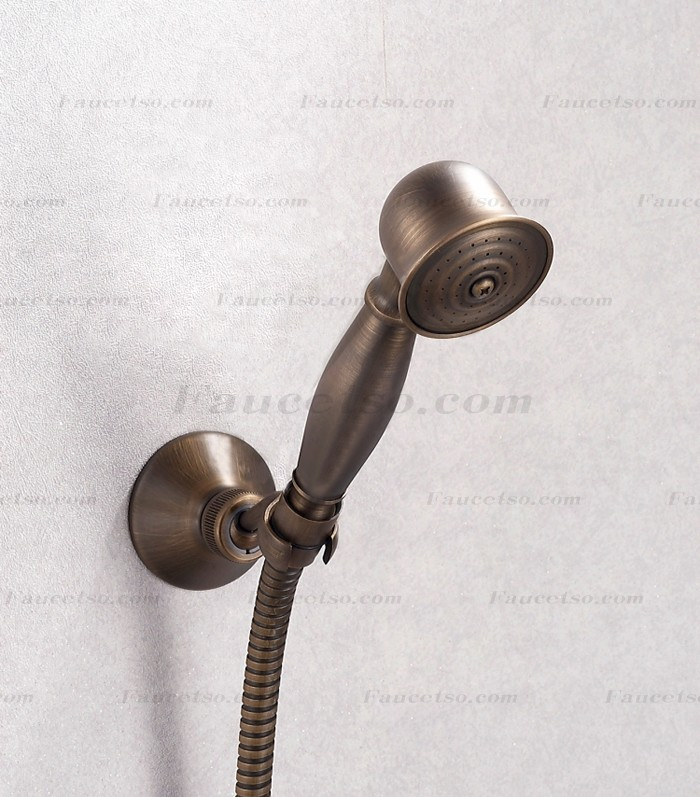 Antique brass finish tub faucet with hand shower f0405w faucets online shop Antique brass faucet bathroom
