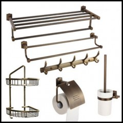 6-Piece Antique Brass Bathroom Accessory Set