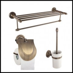 3-Piece Antique Brass Bathroom Accessory Set