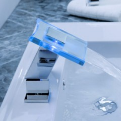 Color Changing LED Waterfall Widespread Bathroom Sink Faucet F8030F