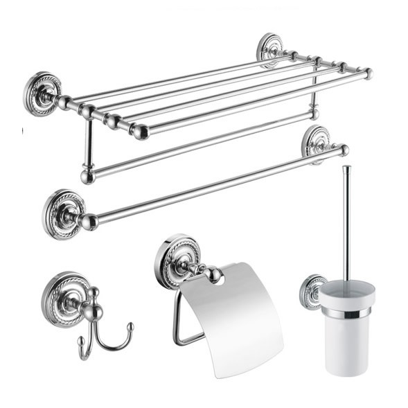 5 piece chrome finish bathroom accessory set 002 faucets for Bathroom fittings set