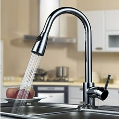 Solid Brass Pull Down Kitchen Faucet - Chrome Finish F0792