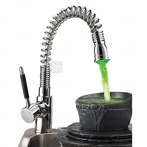 Spring Kitchen Faucet With Color Changing Led Light Chrome Finish F0781d