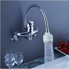 Chrome Finish Brass Kitchen Faucet with Flexible Spout (Wall Mount) F0794