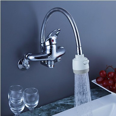 Lovely Chrome Finish Brass Kitchen Faucet With Flexible Spout (Wall Mount) F0794