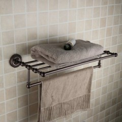 Oil Rubbed Bronze Retro Style 24 Inch Bathroom Shelf With Towel Bar ORB1004