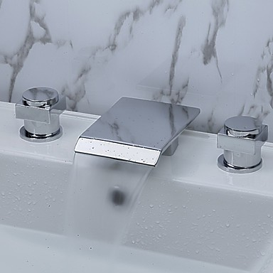 Contemporary Waterfall Bathroom Sink Faucet (Chrome Finish, Widespread ...