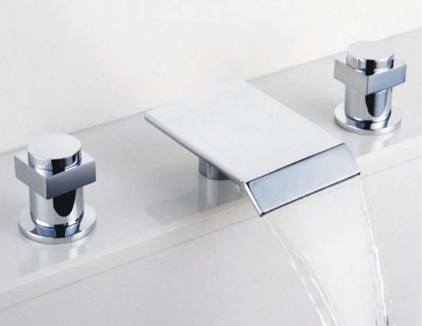Contemporary Waterfall Bathroom Sink Faucet Chrome Finish Widespread F7701 Faucets Online Shop