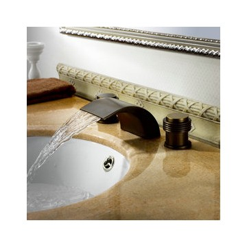 Faucets Copper Waterfall Faucet Gold Bathroom Sink