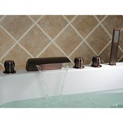 Oil-rubbed Bronze Waterfall Widespread Bathtub Faucet with Hand Shower F7013WOR