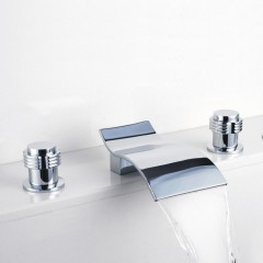 Contemporary Waterfall Bathroom Sink Faucet (Chrome Finish, Widespread) F7709B