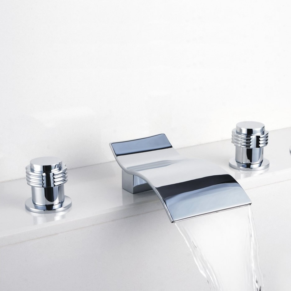Contemporary waterfall bathroom sink faucet chrome finish for Bathroom sink faucets