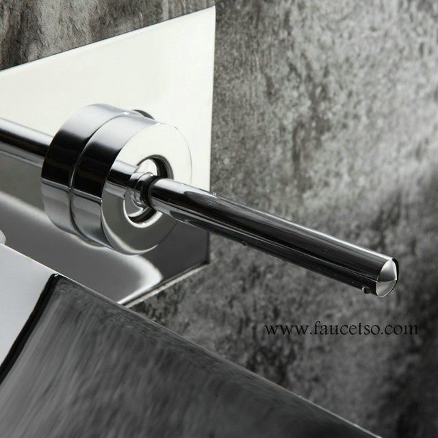 sink faucet chrome finish color changing led waterfall wall mount bathroom