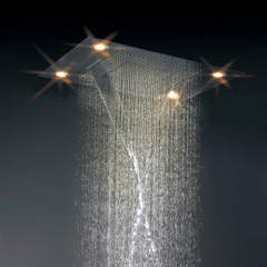 35 Inch Luxury Square Rain Nickel Finish LED Shower Faucet  HN35F